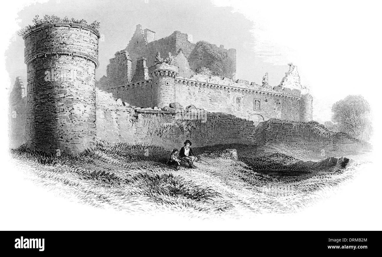 Craigmillar Castle Scotland circa 1850 Stock Photo