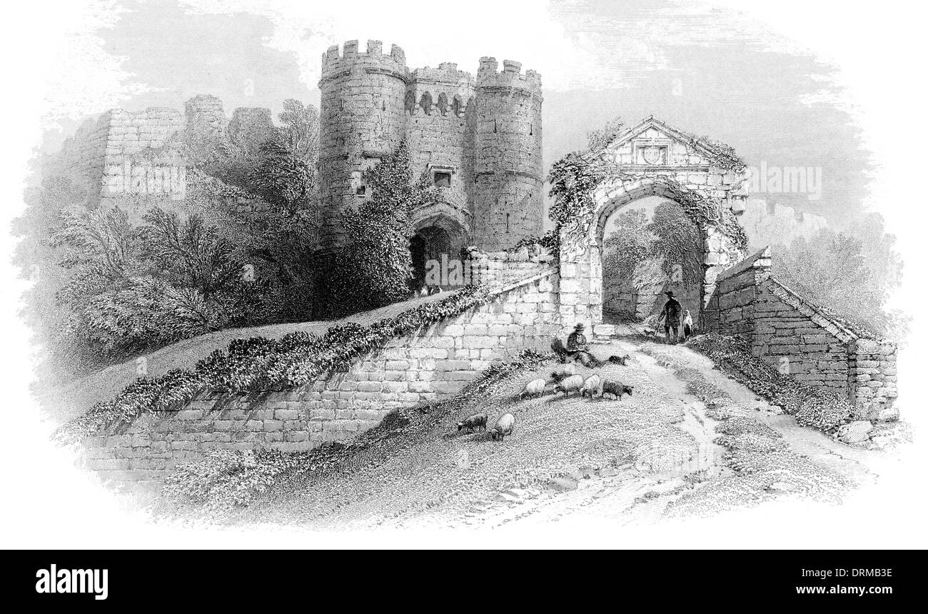 Carisbrooke Castle motte and bailey castle Isle of Wight. Gateways and Keep circa 1850 Stock Photo