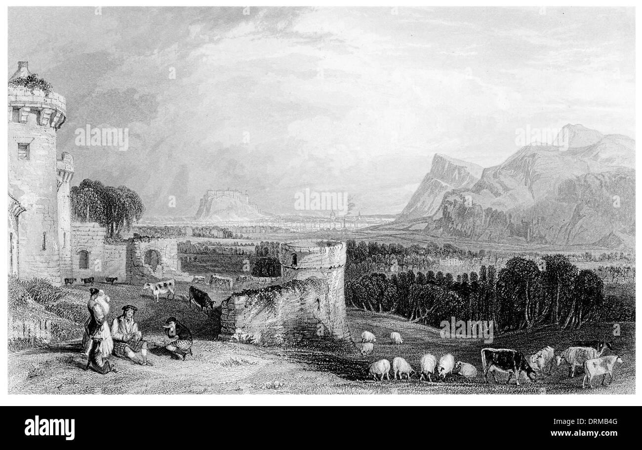 Edinburgh from Craigmillar Castle circa 1850 Stock Photo