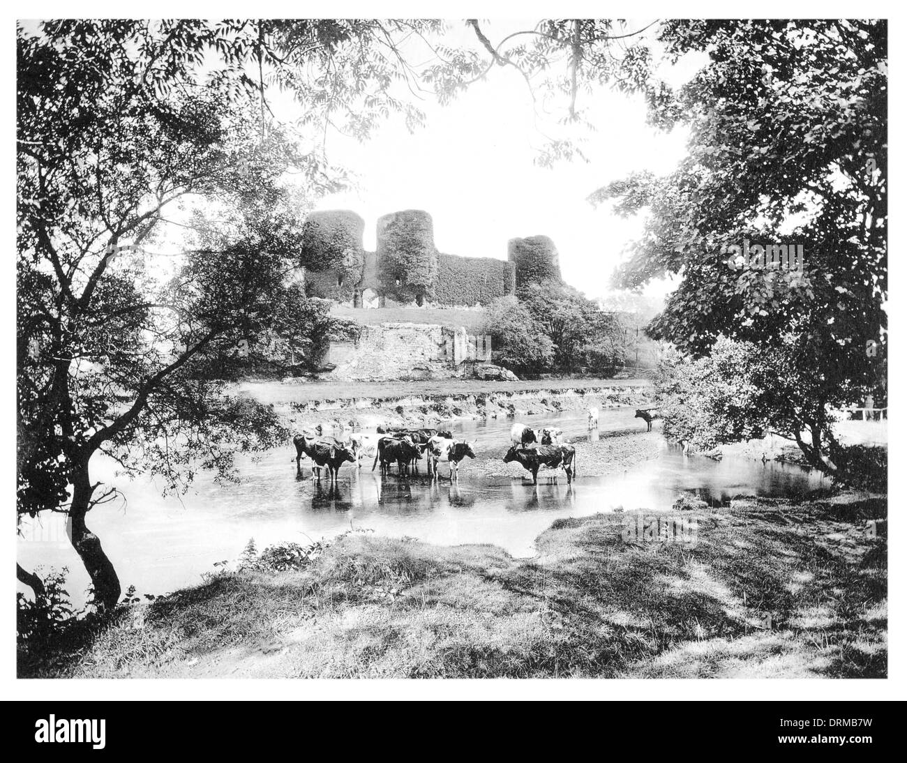 Rhuddlan castle from the River Clwyd Denbighshire, Wales Photographed Circa 1910 - Stock Image