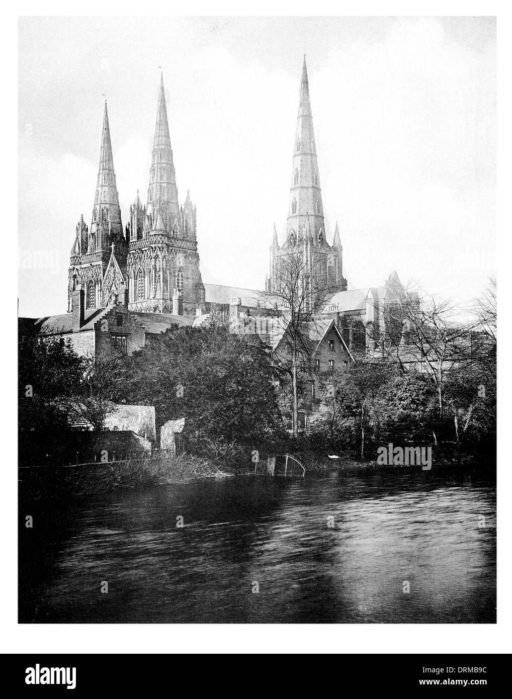 Lichfield cathedral Staffordshire Photographed Circa 1910 - Stock Image
