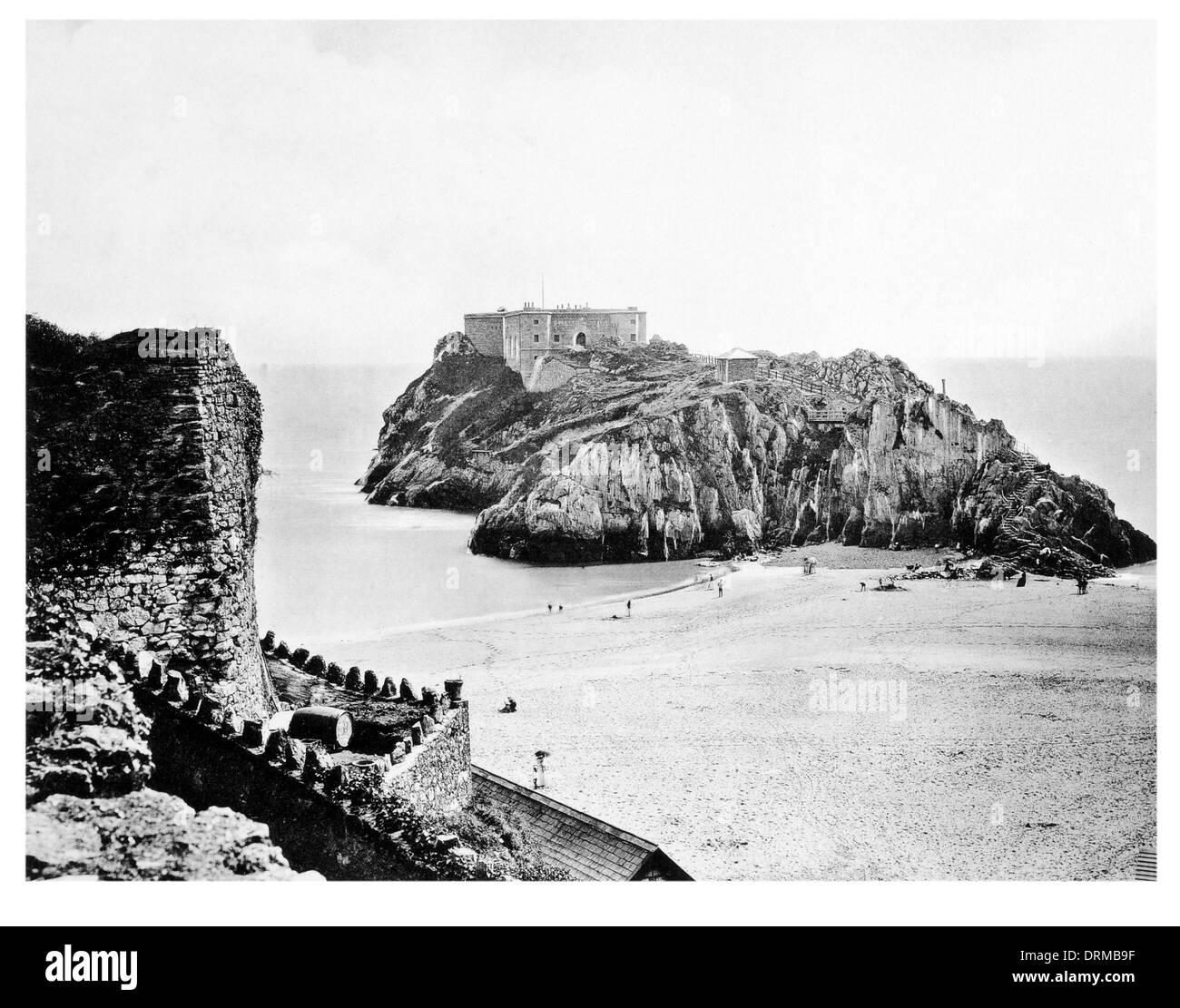 Tenby St Catherine's Castle bastion Palmerstone Fort seaside town Pembrokeshire Bay sandy  Rock, Tenby Photographed Circa 1910 - Stock Image