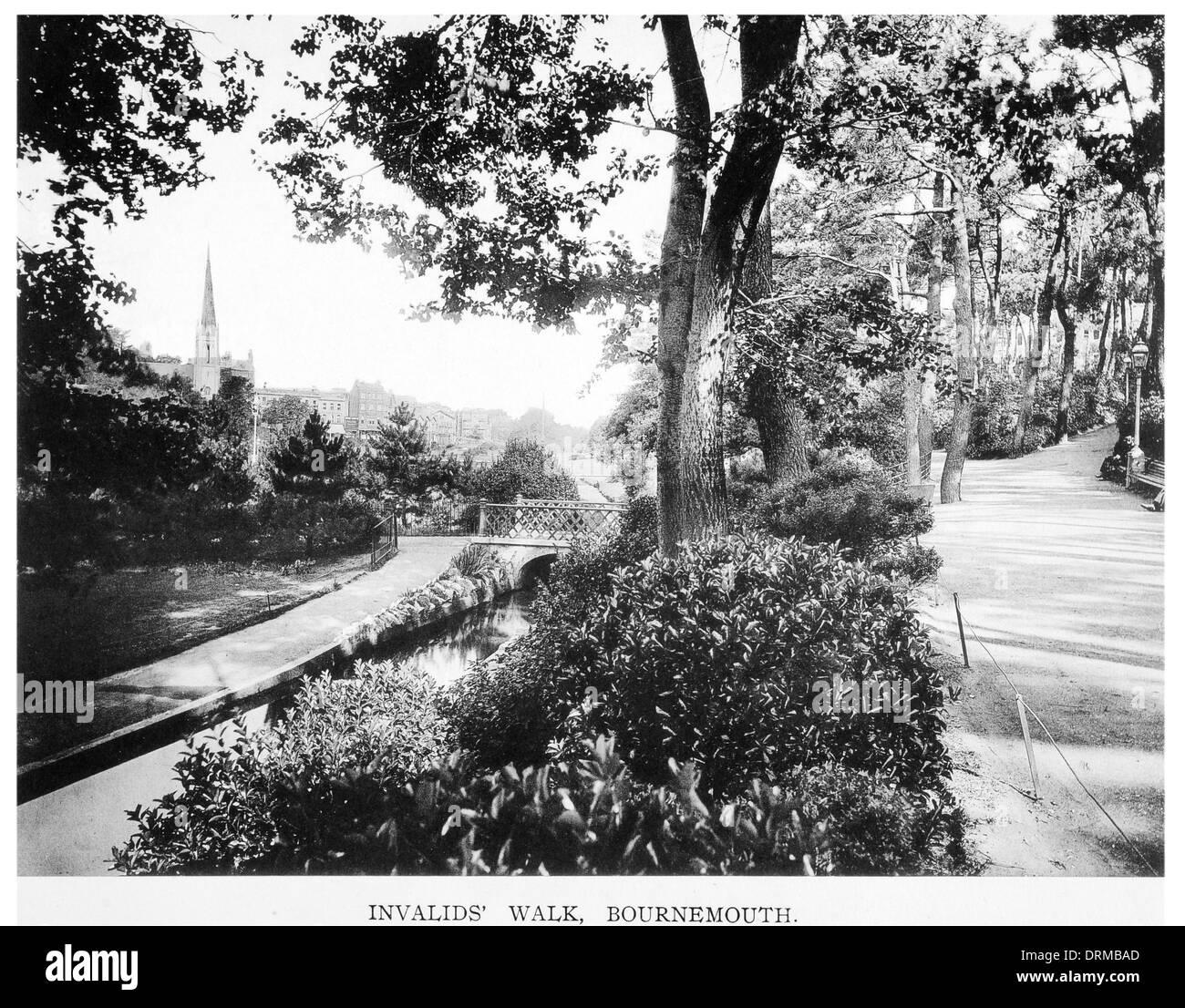 invalids walk, Bournemouth Dorset Photographed Circa 1910 - Stock Image