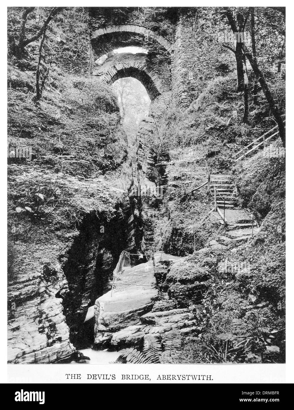 The Devil's Bridge, Aberystwith Photographed Circa 1910 - Stock Image