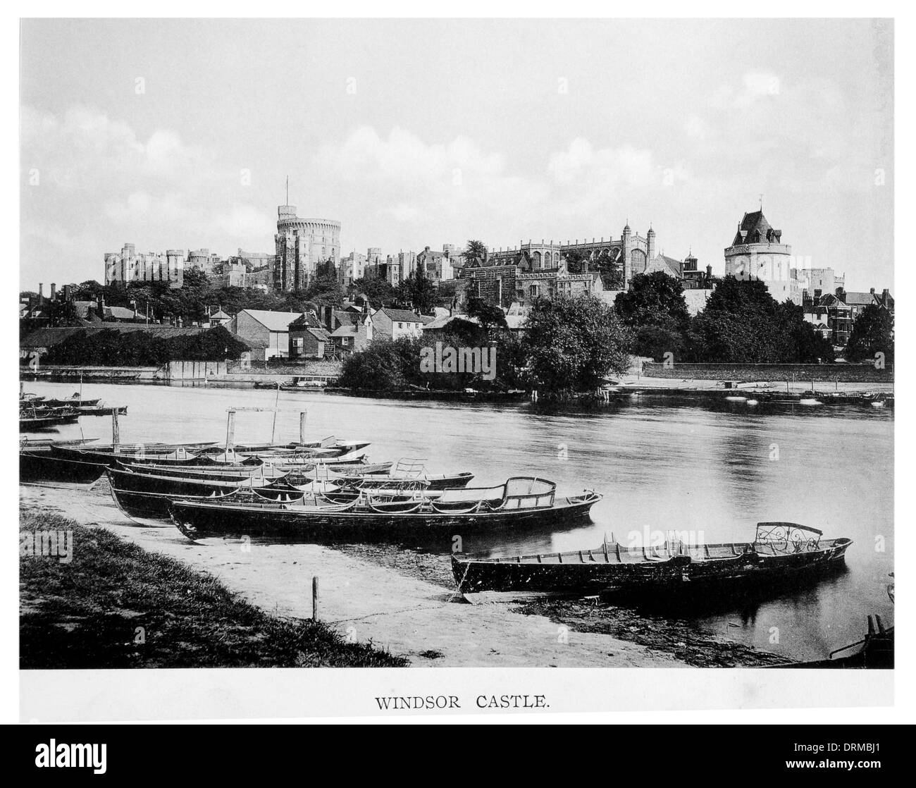 Windsor Castle Berkshire UK from river Thames sailing boat bank distant view Photographed Circa 1910 - Stock Image