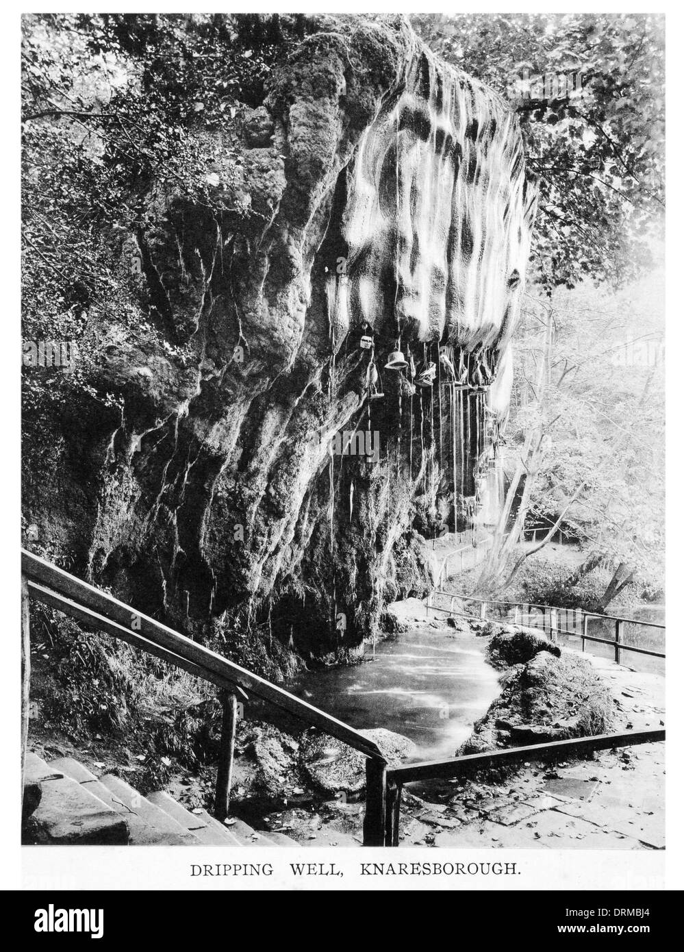 Dripping Well, Knaresborough Yorkshire Photographed Circa 1910 - Stock Image