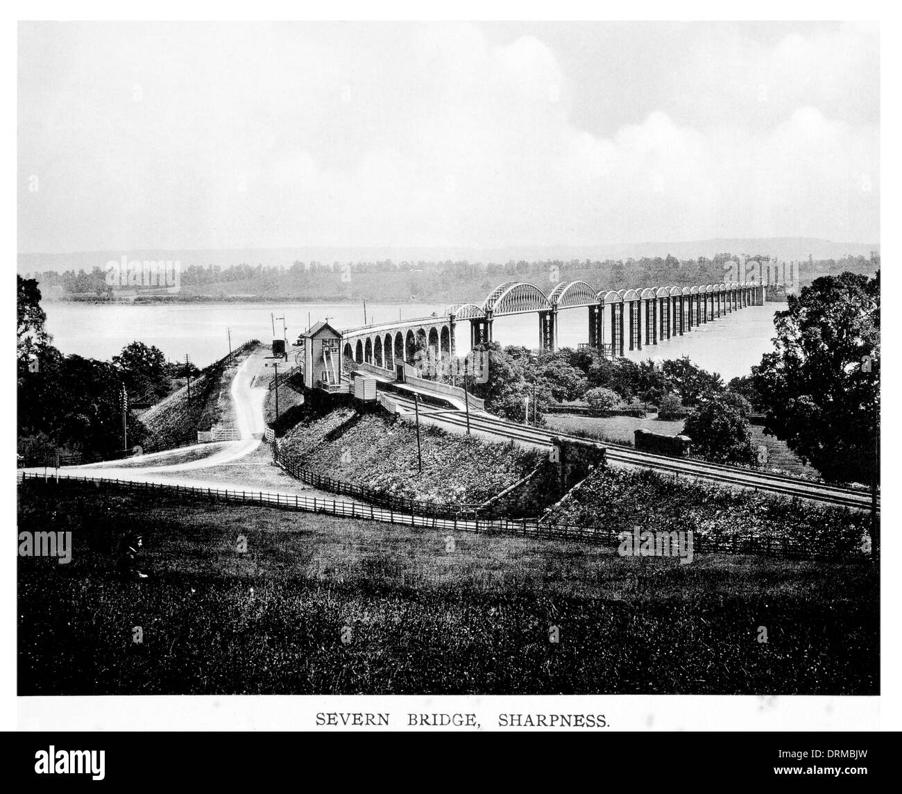 Severn railway bridge, between Sharpness and Lydney, Gloucestershire demolished 1970  Photographed Circa 1910 - Stock Image