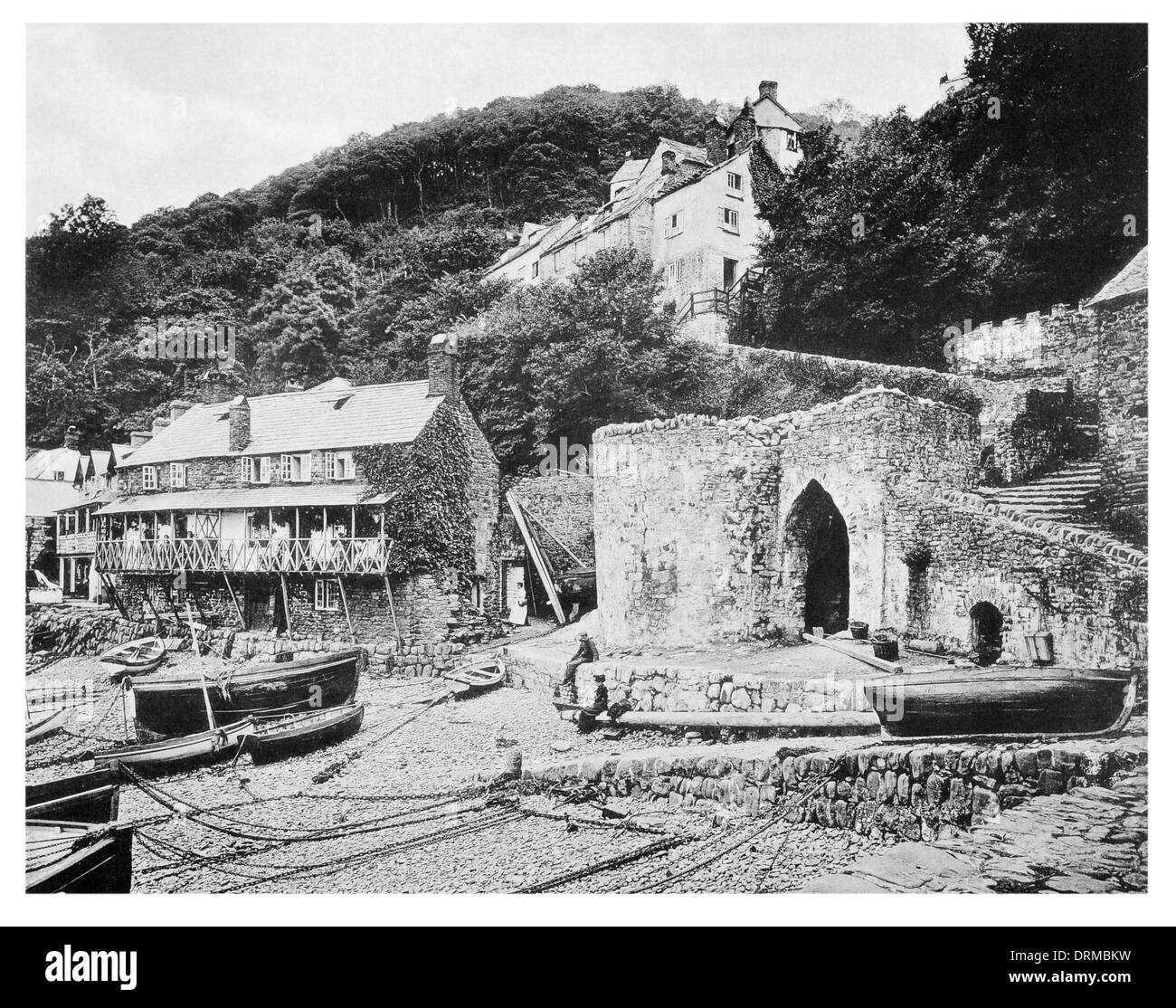 Clovelly is a small village in the Torridge district of Devon, England.  Crazy Kate's cottage Photographed Circa 1910 - Stock Image