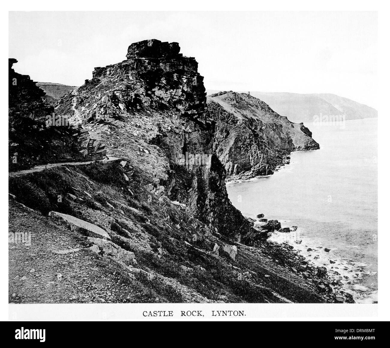 Castle Rock, lynton Devon Photographed Circa 1910 - Stock Image