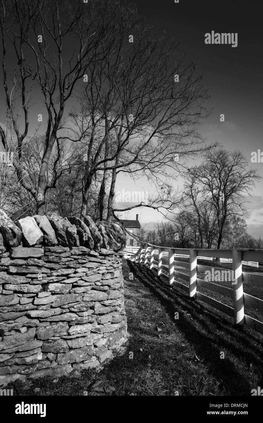 Traditional stone and wooden fences - Stock Image