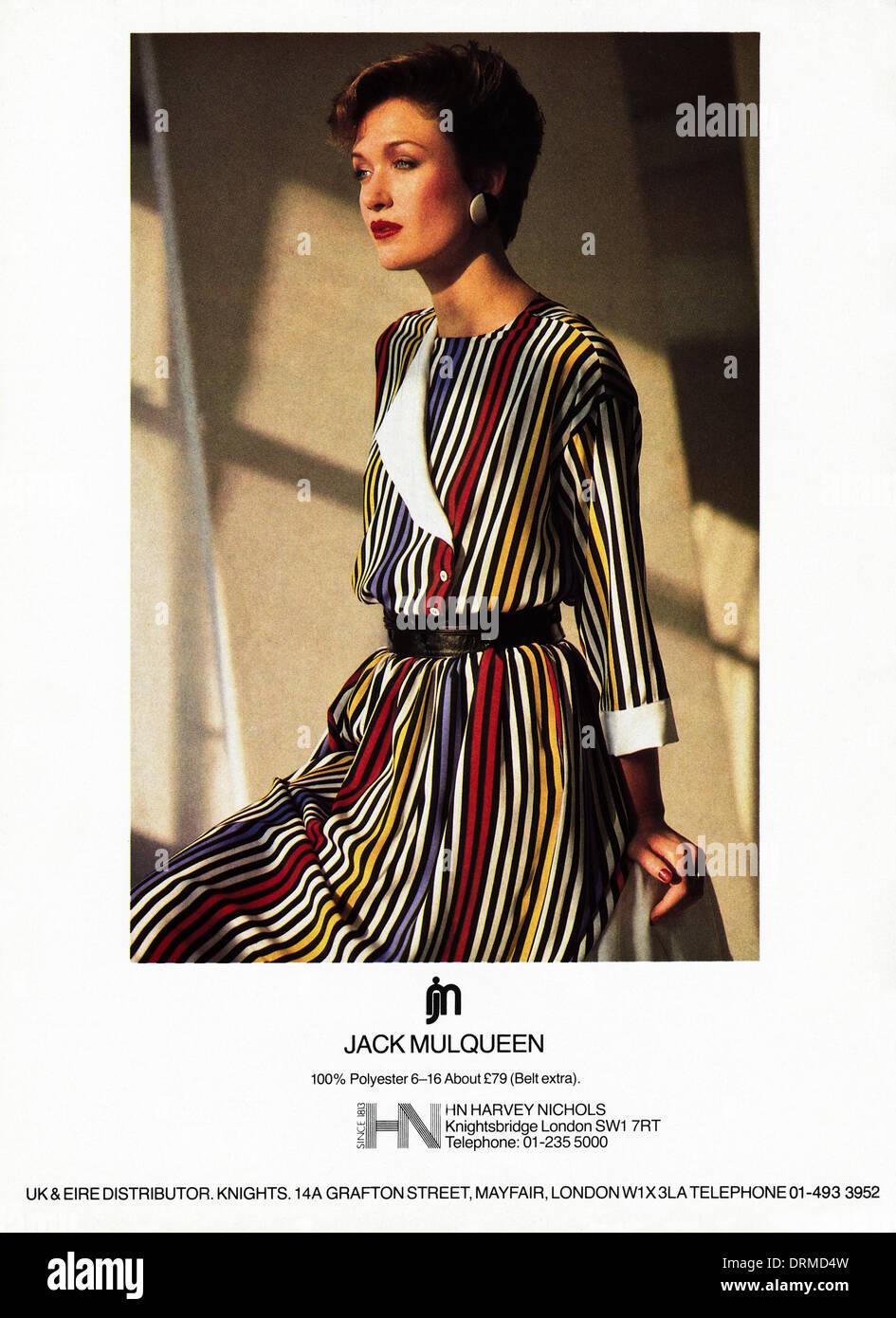 1980s fashion magazine advertisement advertising JACK MULQUEEN fashions, advert circa 1983 - Stock Image