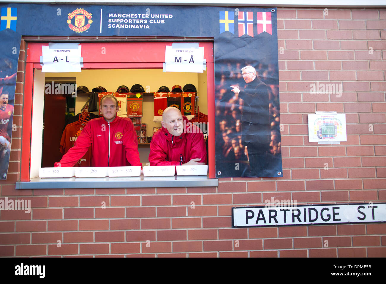 Manchester United Scandinavian Supporters Club on Partridge Street, at Old Trafford, Manchester United - Stock Image