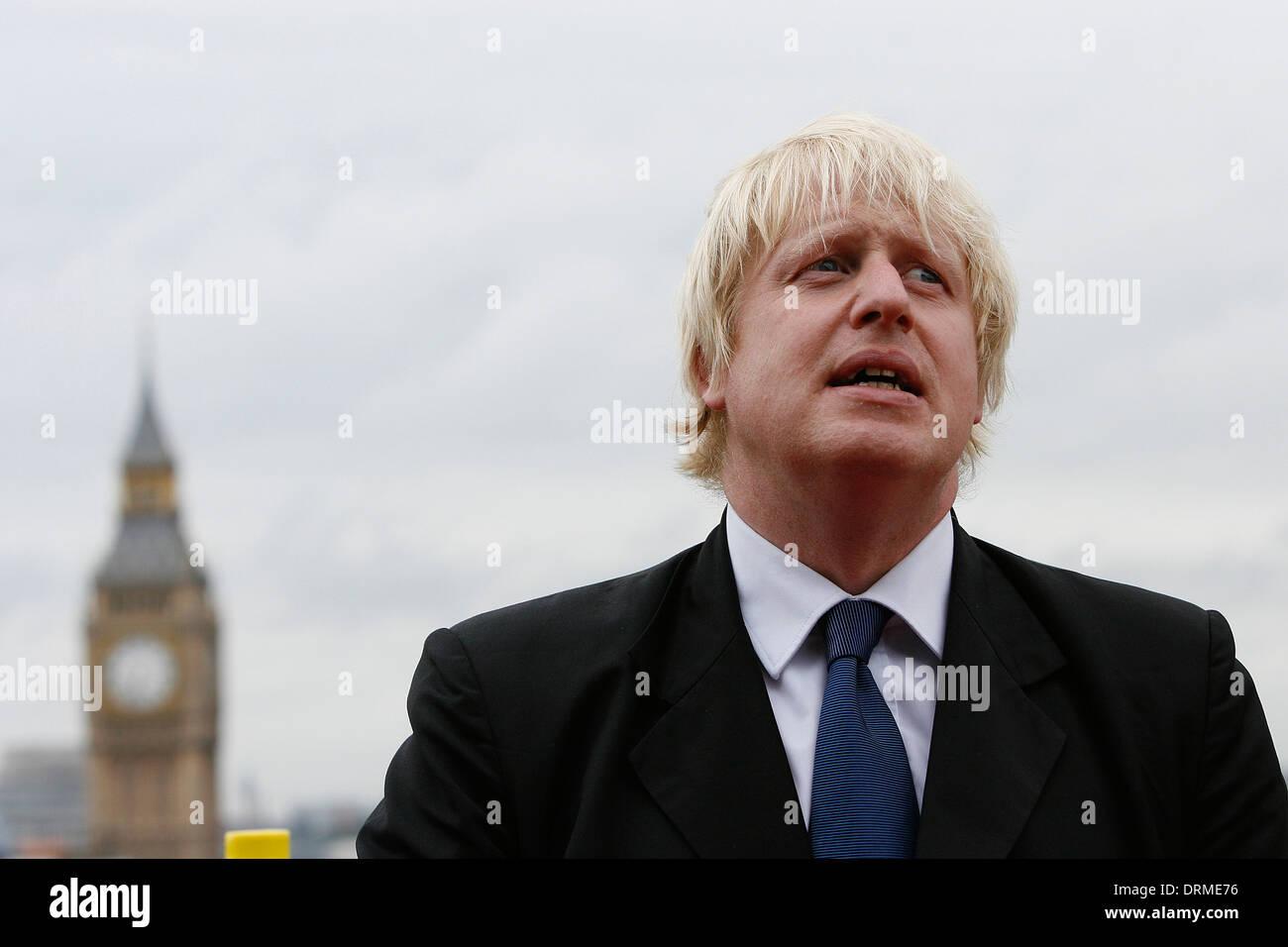 Mayor of London Boris Johnson in front of Big Ben London - Stock Image