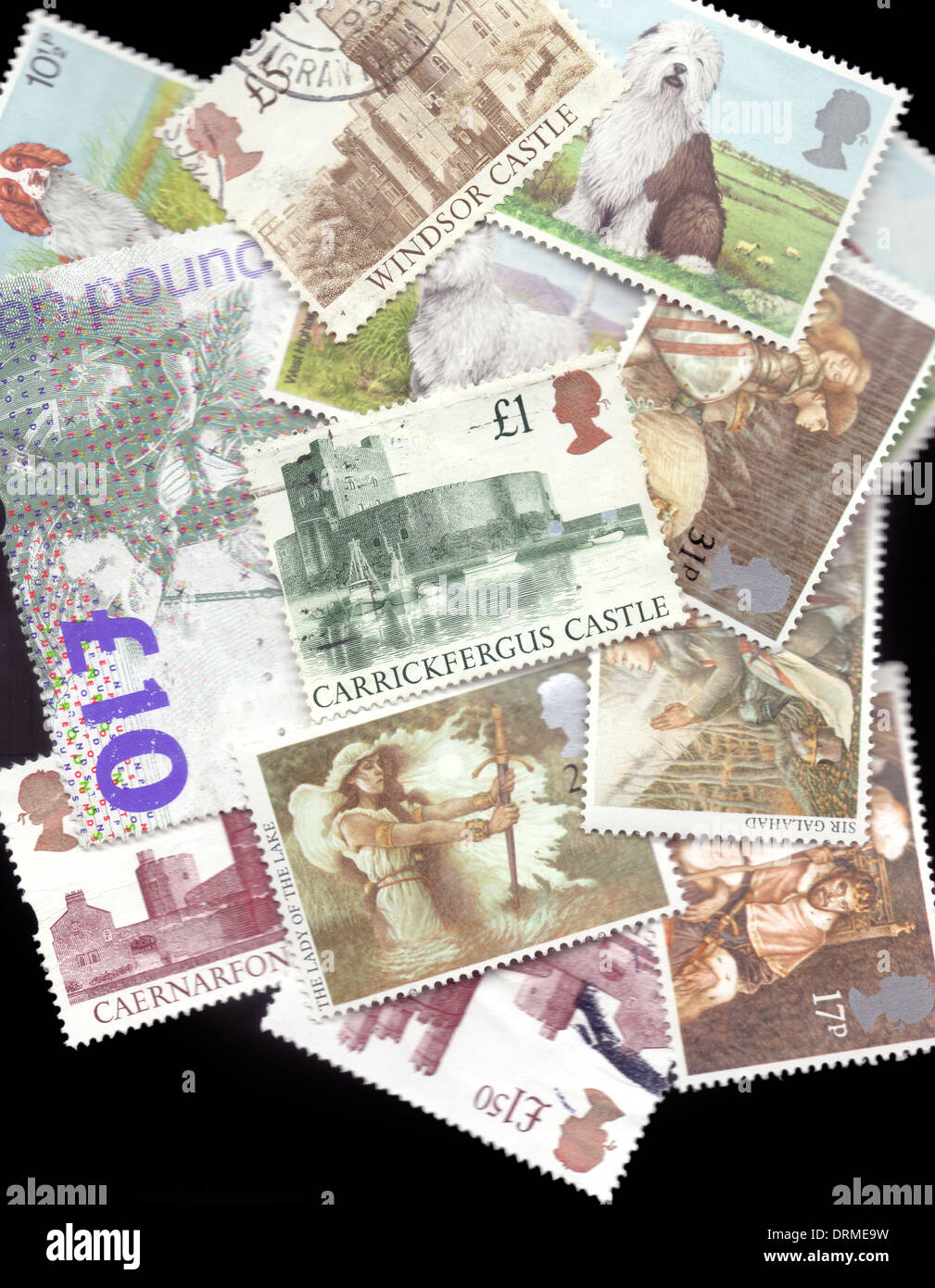 Britain UK Selection of various used British Royal Mail postage stamps close-up - Stock Image