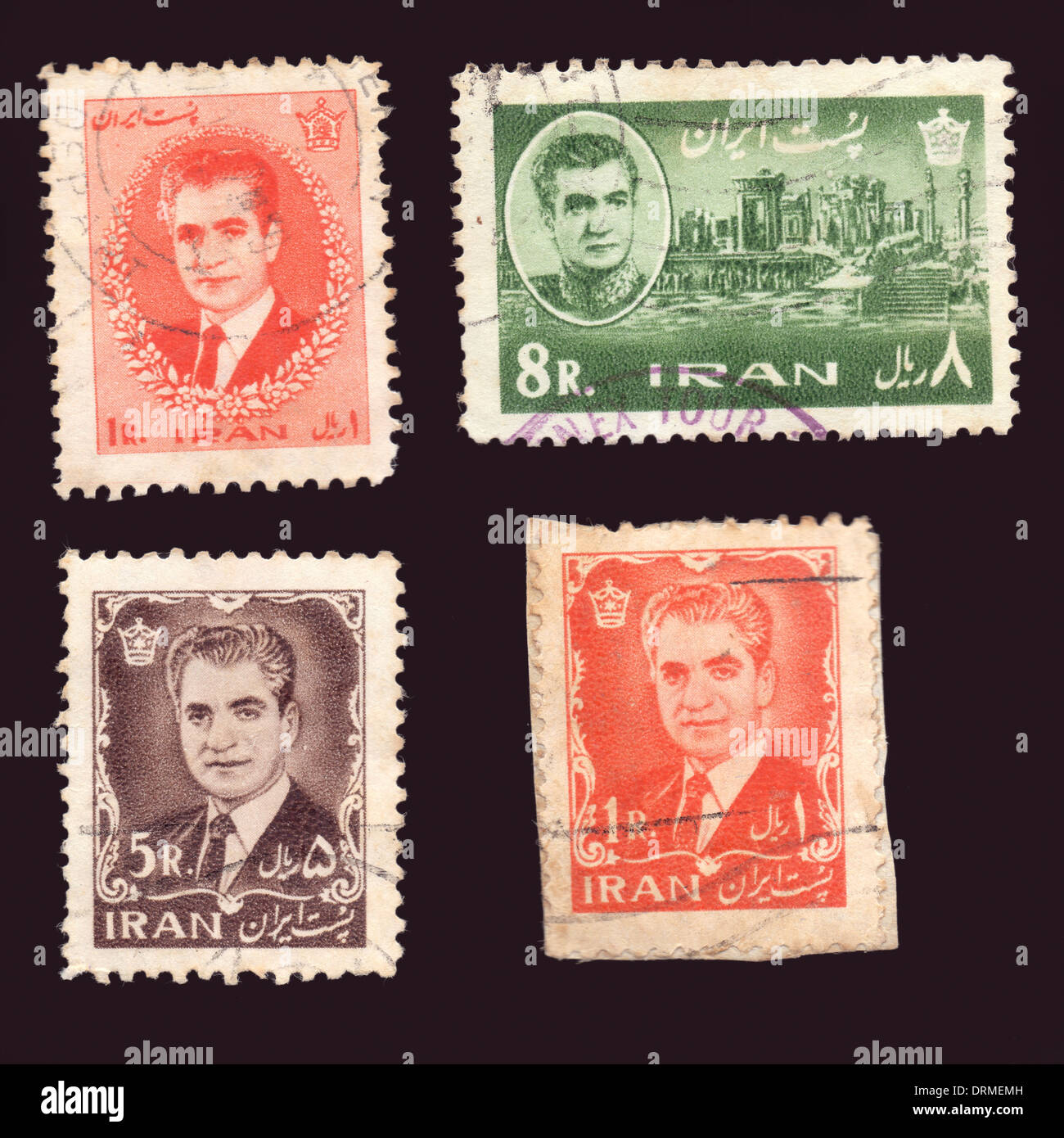 Iranian stamps depicting the Shah of Iran Mohammad Reza Pahlavi - Stock Image