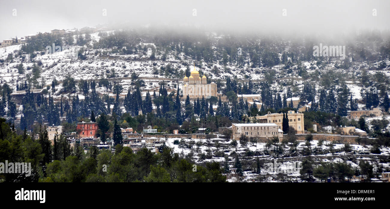 Snowscape in Ein Karem, Jerusalem The Russian Orthodox Church (Gorney Convent) in the background Stock Photo