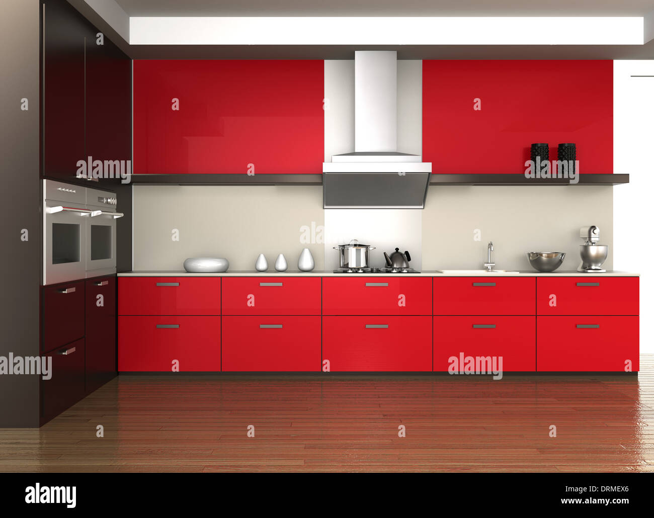 Modern Kitchen Interior With Wine Red Cabinet Color Stock Photo