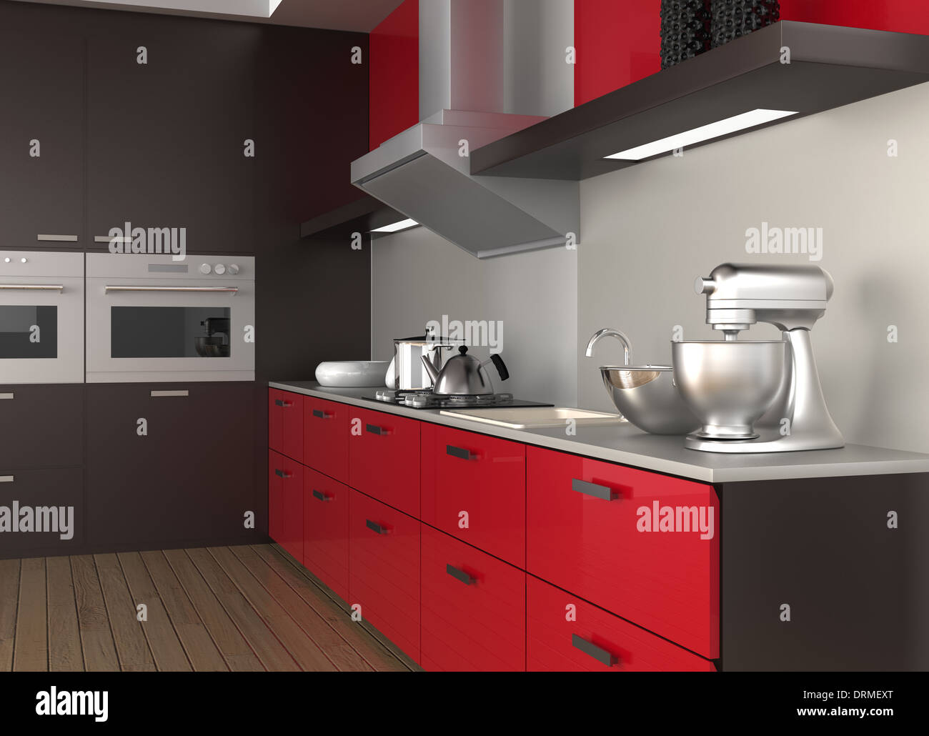 Modern Kitchen Interior With Wine Red Cabinet Color Stock
