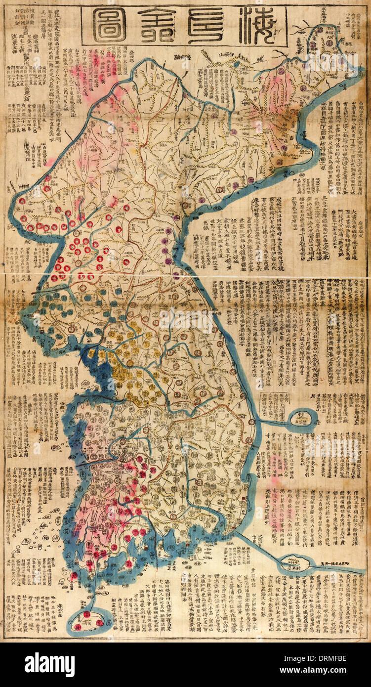 Haejwa chondo, map of the Korean Peninsula 1822 showing the 8 provinces of Korea. Stock Photo