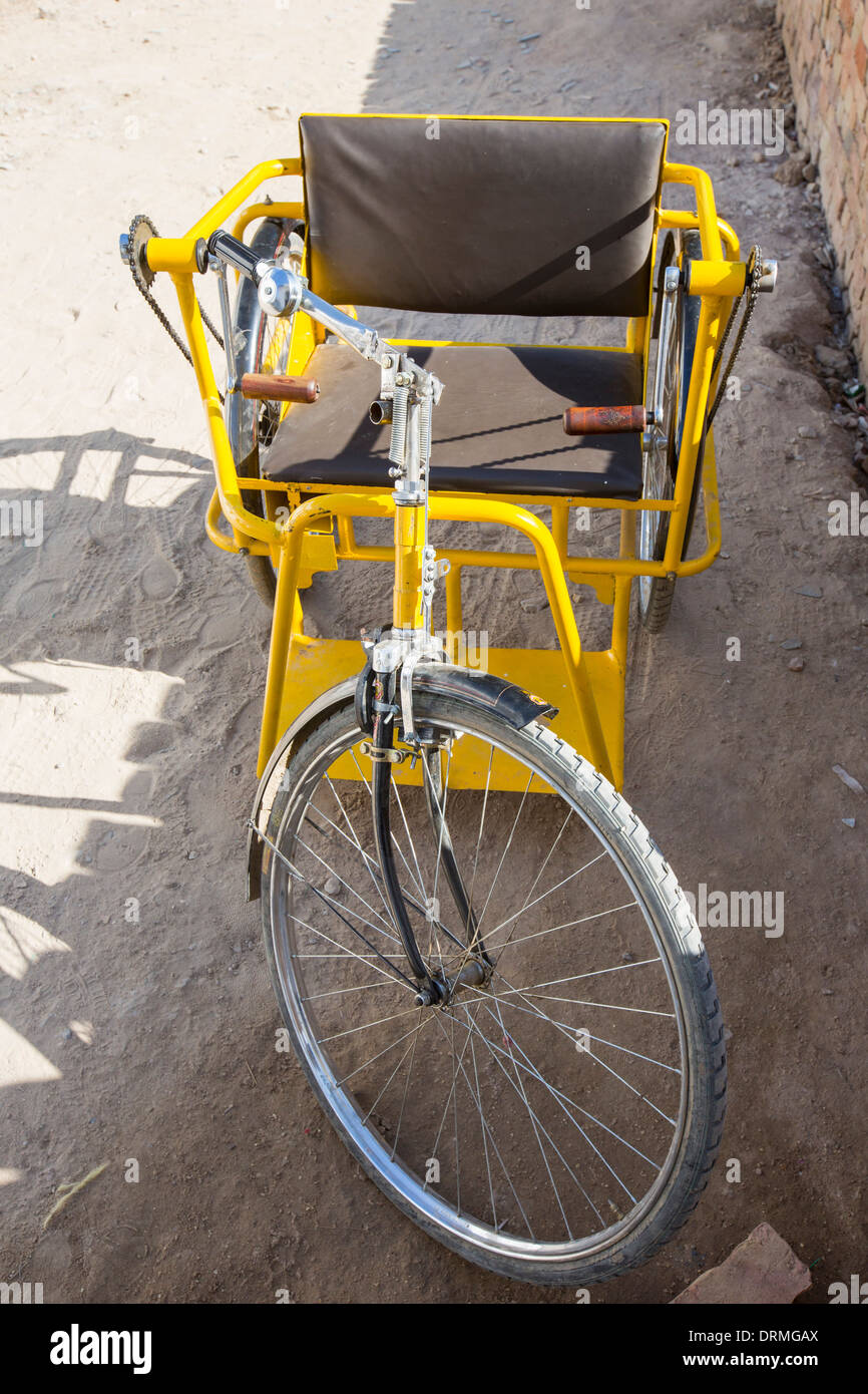 A disability bike at the Barefoot College in Tilonia, Rajasthan, India. The Barefoot College is a worldwide charity, founded by - Stock Image