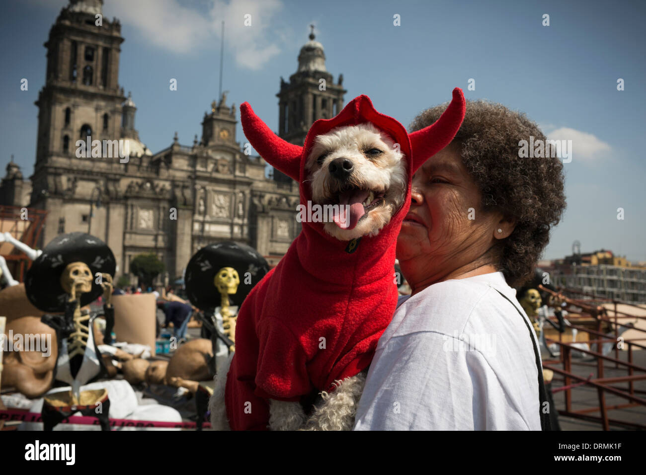 A woman walks with her dog in a devil costume for the celebration of Day of the Dead - Stock Image