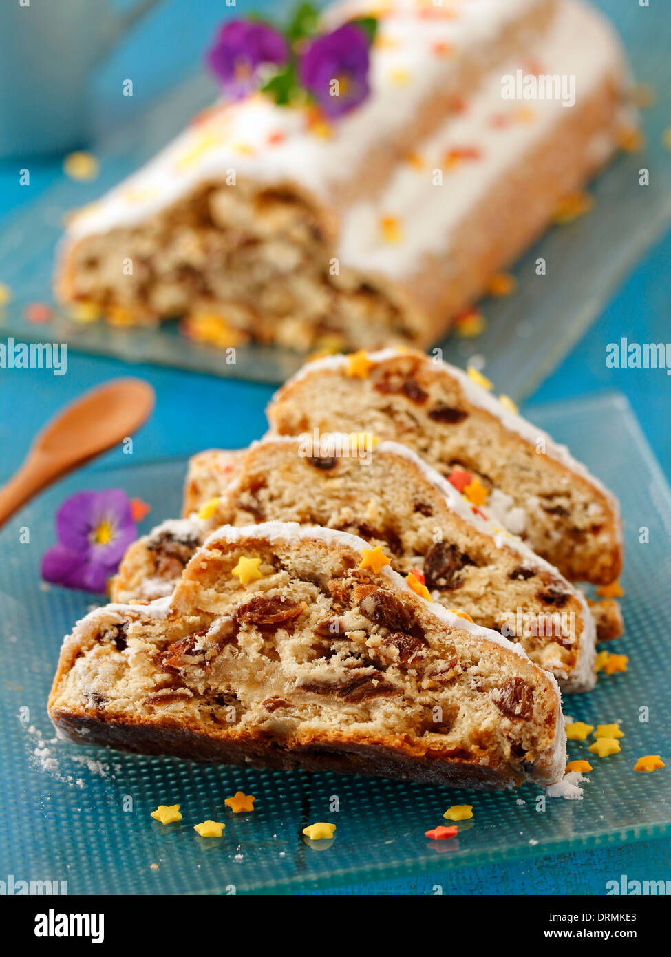 Marzipan cake with raisins (Stollen). Recipe available. - Stock Image