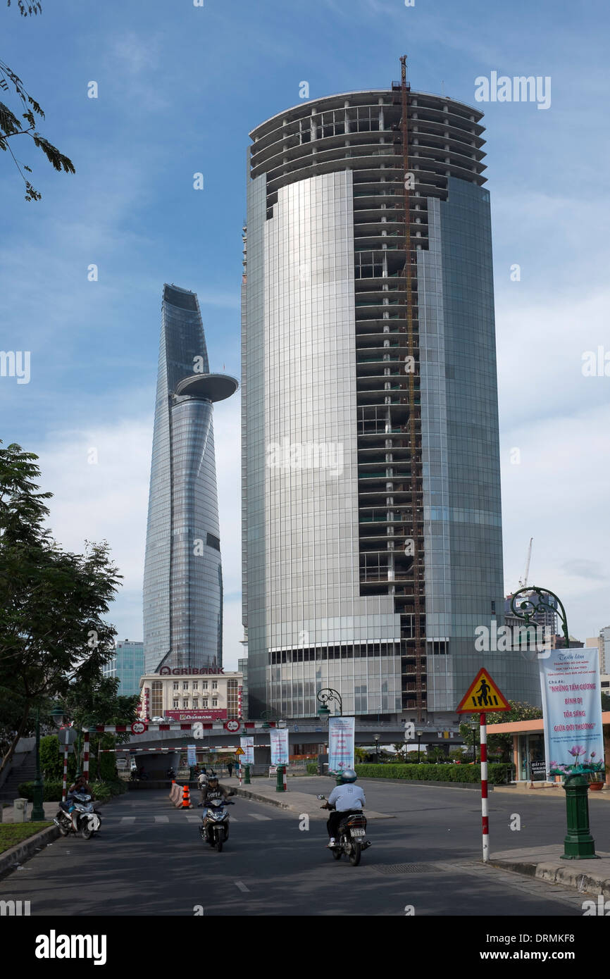 Modern Hi Rise Buildings development in downtown Ho Chi Minh City - Stock Image
