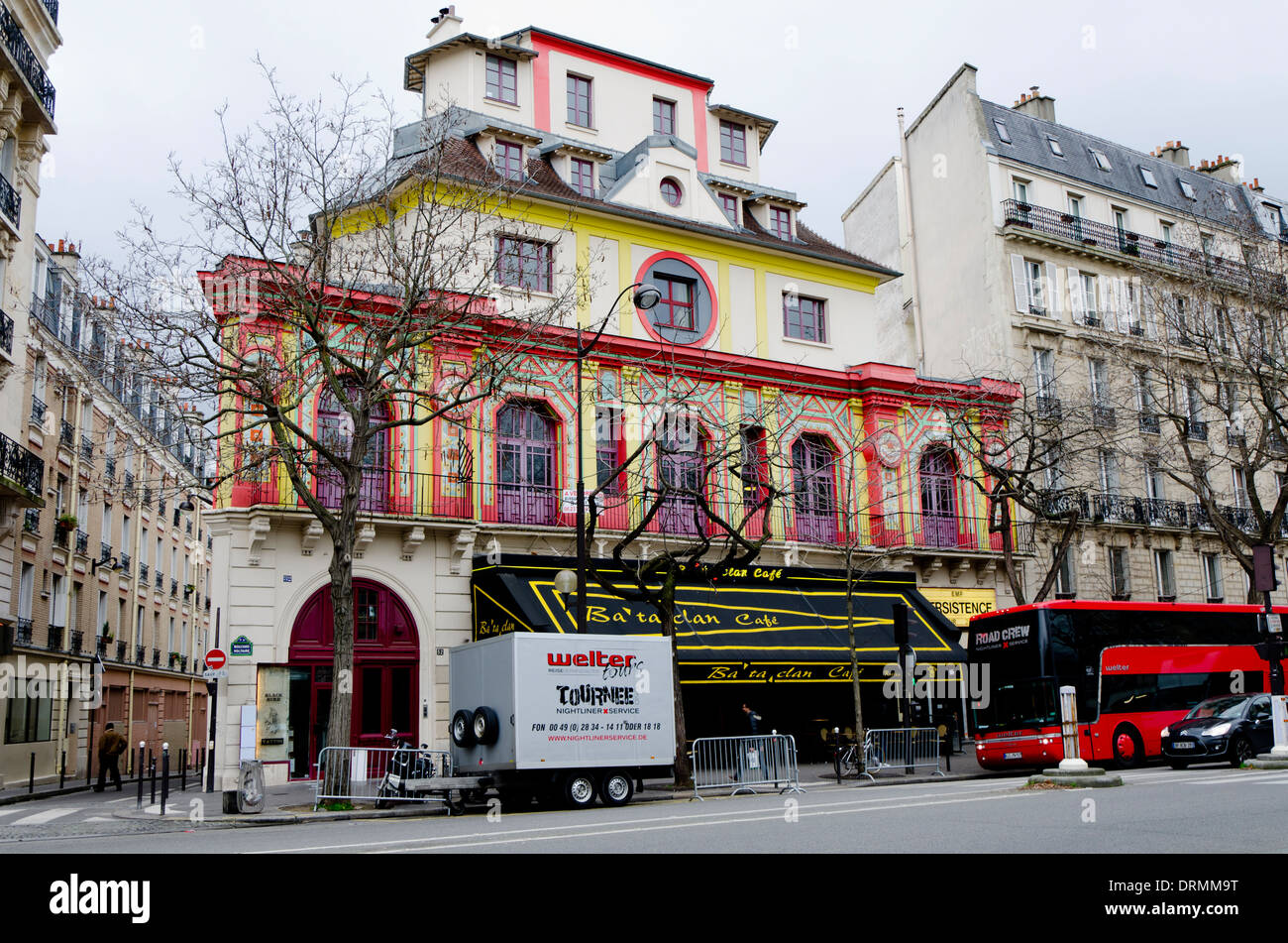 The Bataclan theatre, concert hall cafe, exterior, facade, at boulevard Voltaire in the 11th Arrondissements, Paris, France. - Stock Image