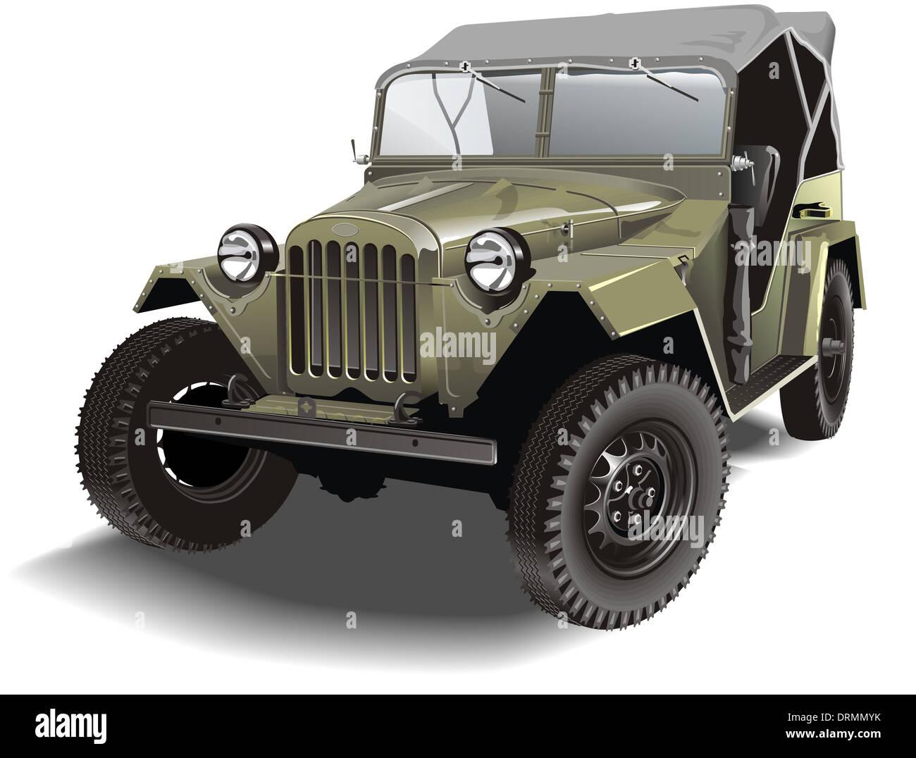 retro military jeep - Stock Image