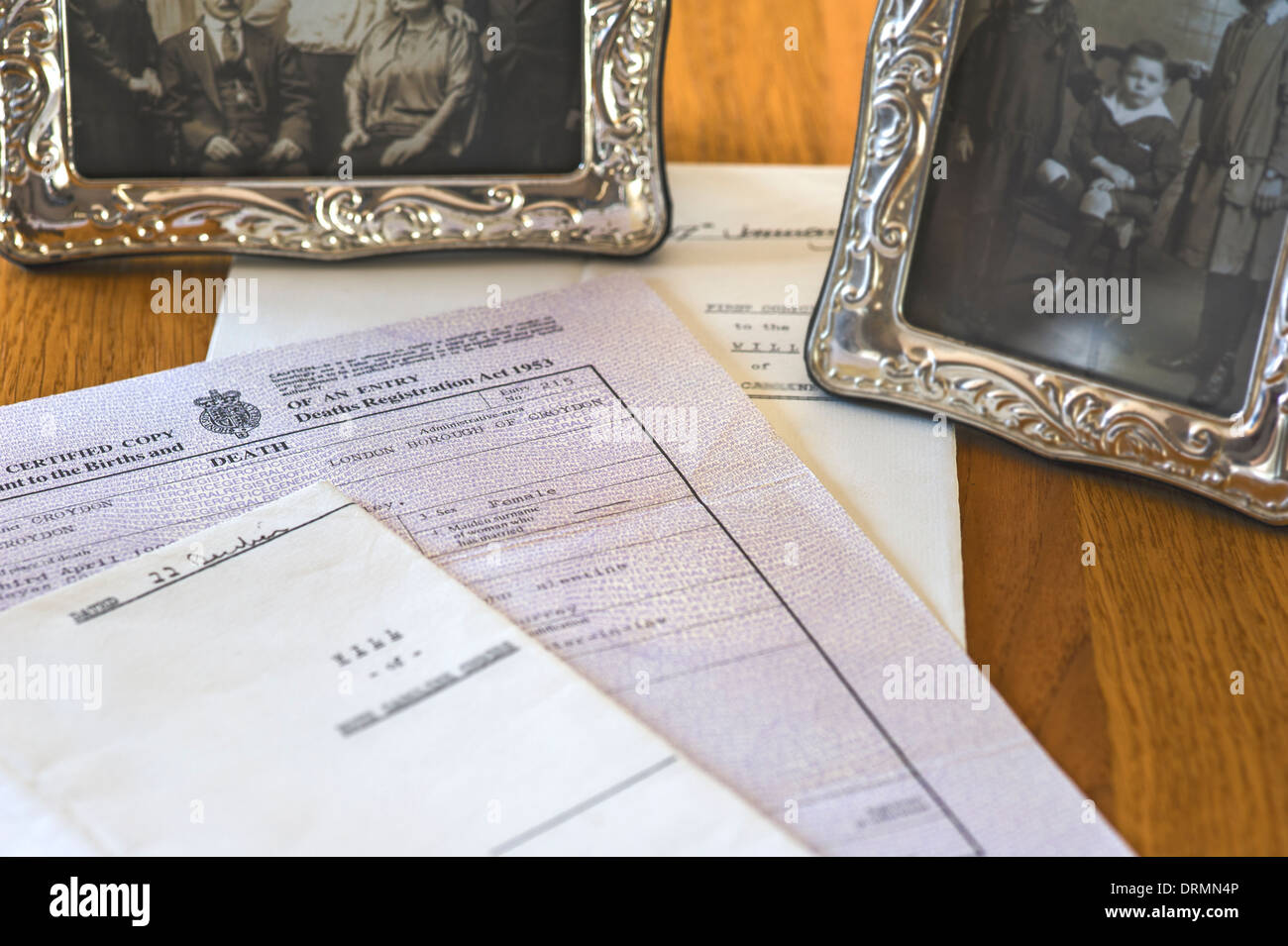 Death certificate and will.Family records and memories. - Stock Image
