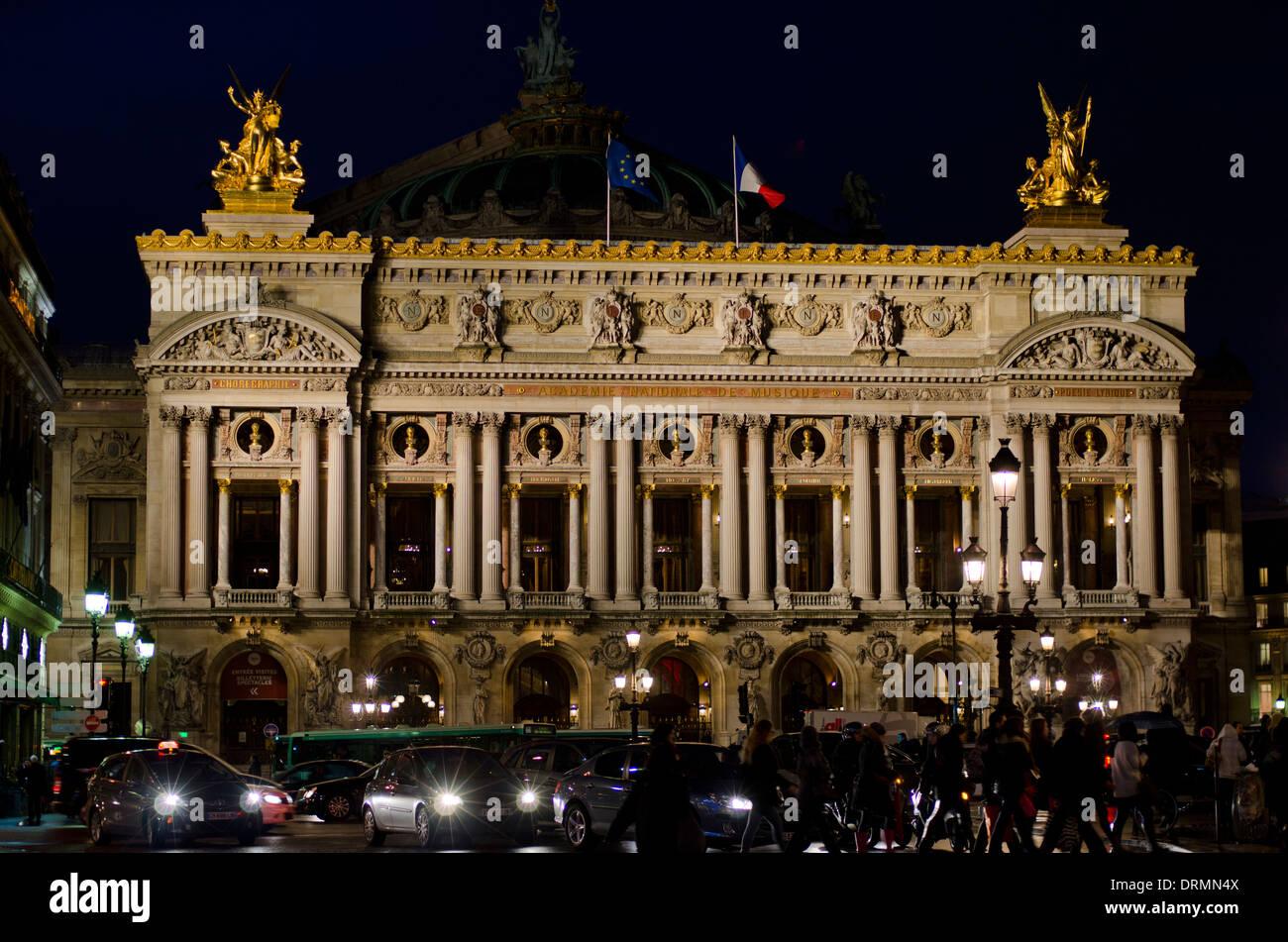 The Palais Garnier, Opera House in Paris at night, France. Stock Photo