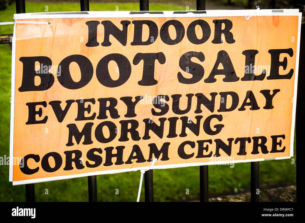 Notice in town advising weekly Indoor Boot Sale in UK - Stock Image