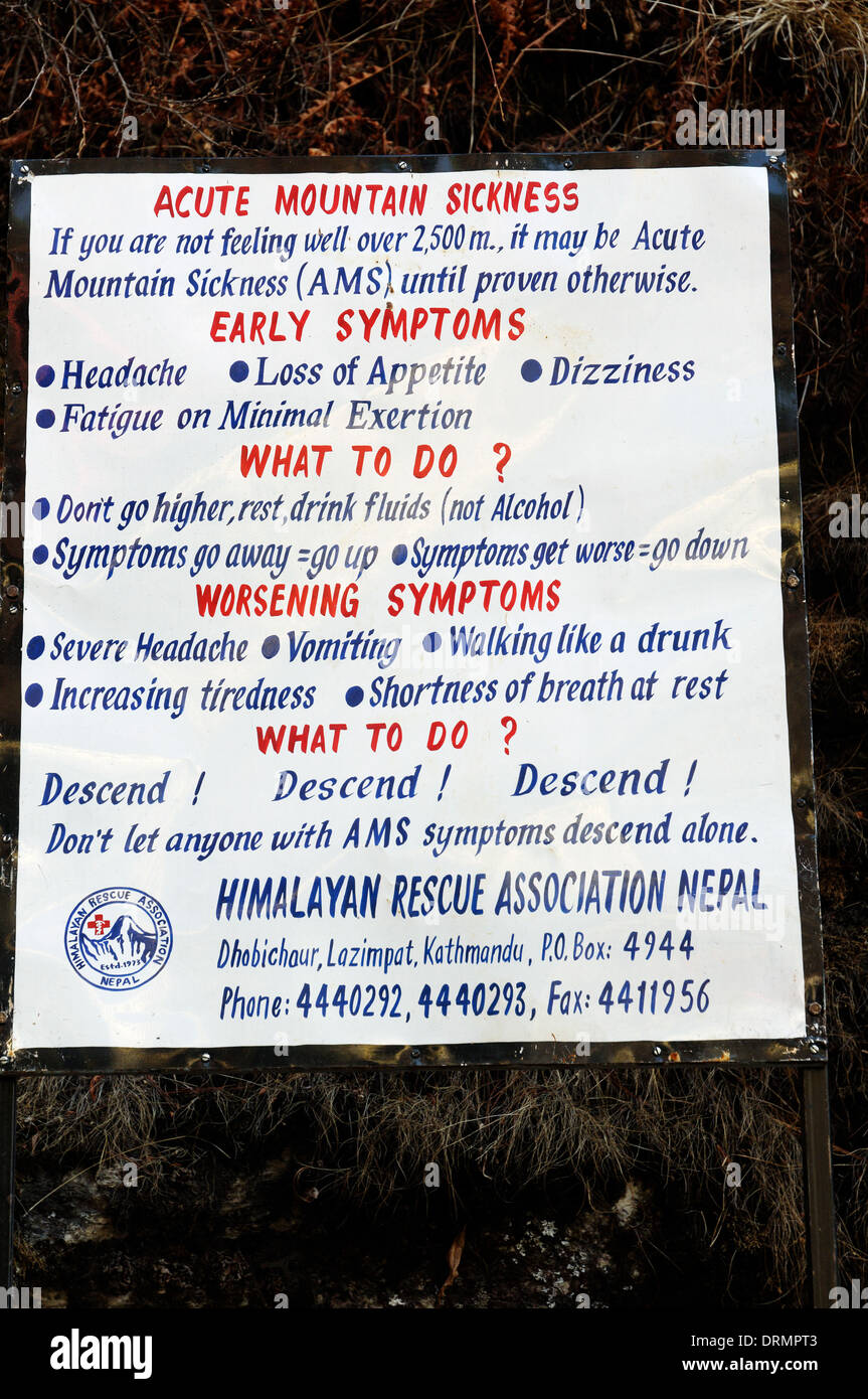 A sign on the Everest base camp trek warning trekkers of the symptoms of acute mountain sickness and the effects - Stock Image