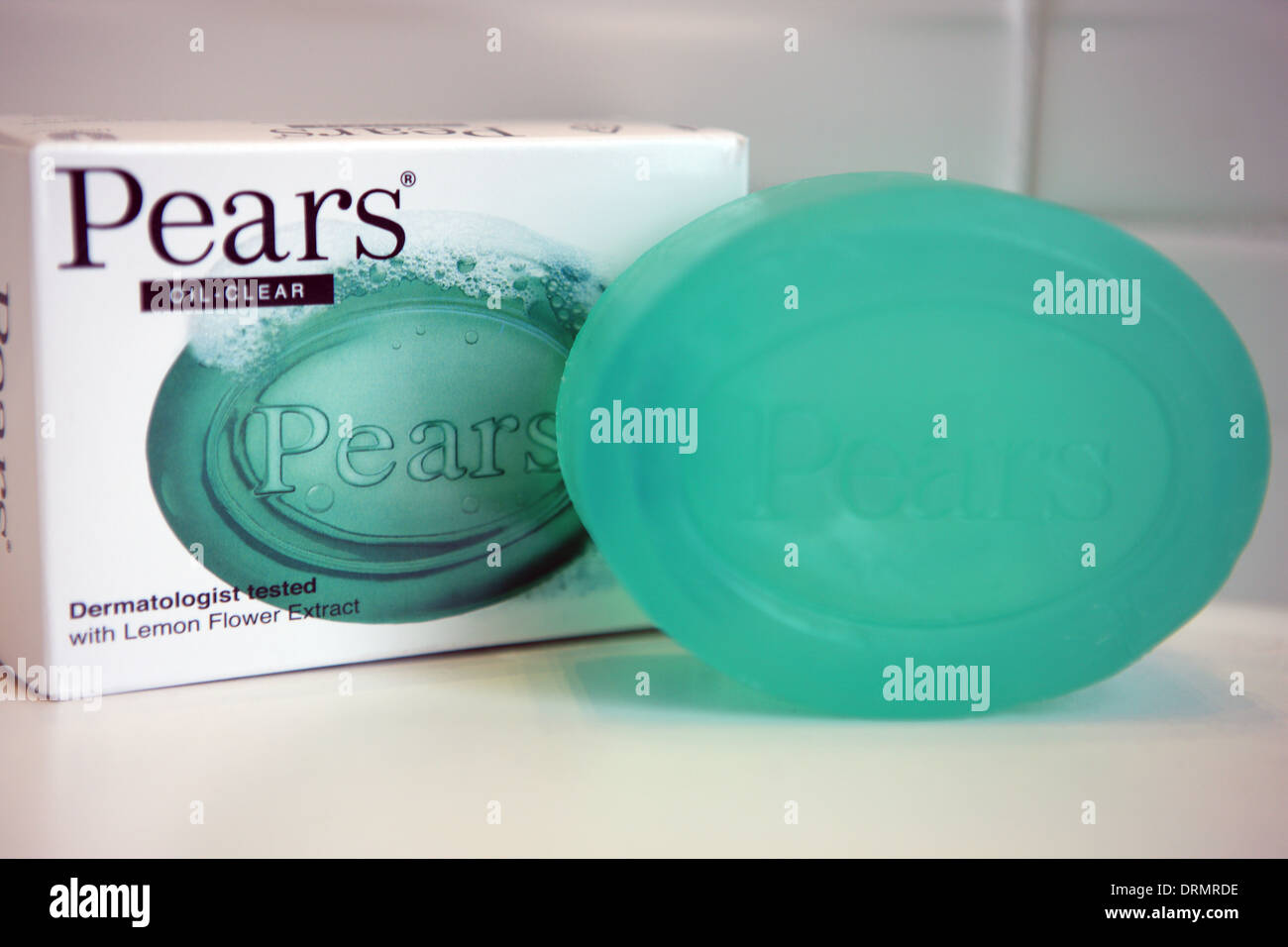 Pears green soap and box - Stock Image