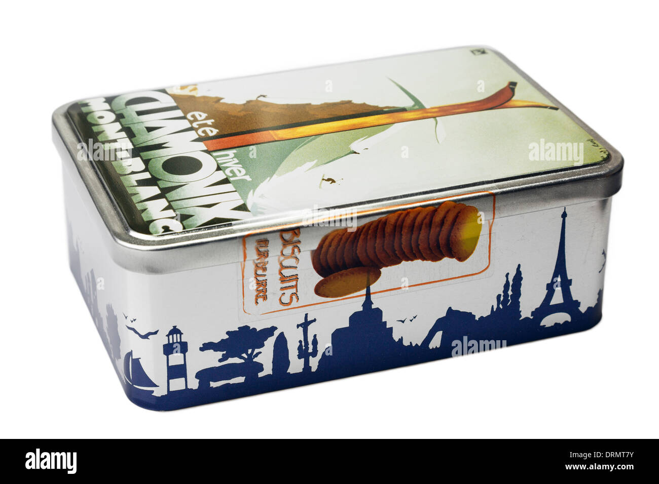 Ornate tin of French biscuits from the Chamonic Mont Blanc region of France isolated on a white background - Stock Image