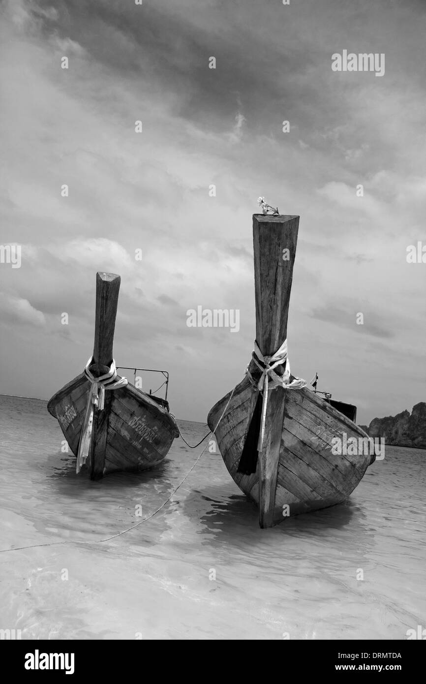 Longtailboats at the beach Stock Photo