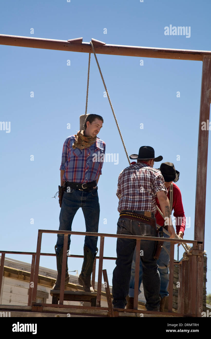Simulated hanging Bonnie Springs Ranch Old Western Replica Town Nevada USA - Stock Image
