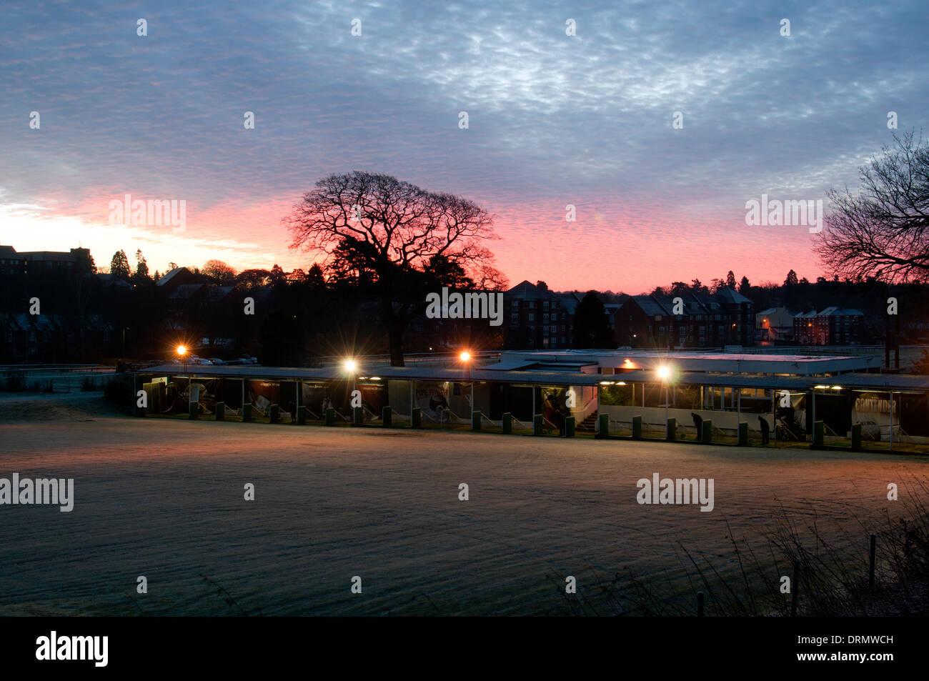Warwick golf driving range at dawn, Warwick, Warwickshire, UK - Stock Image