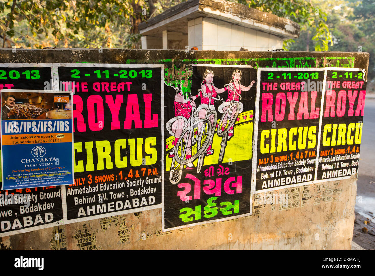 Posters for the Royal circus in Ahmedabad; India. - Stock Image