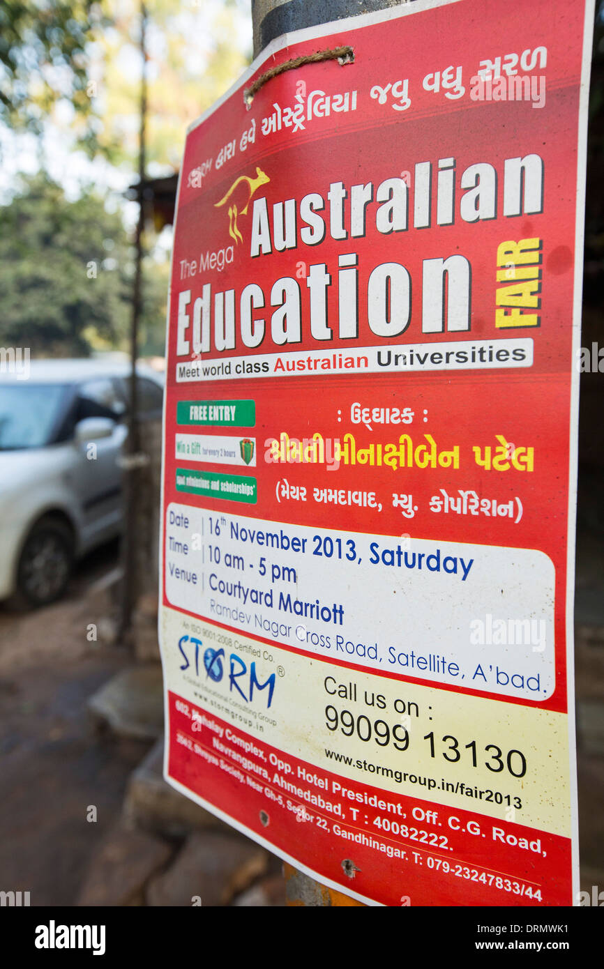 A poster for Australian education opportunities in Ahmedabad, India. - Stock Image