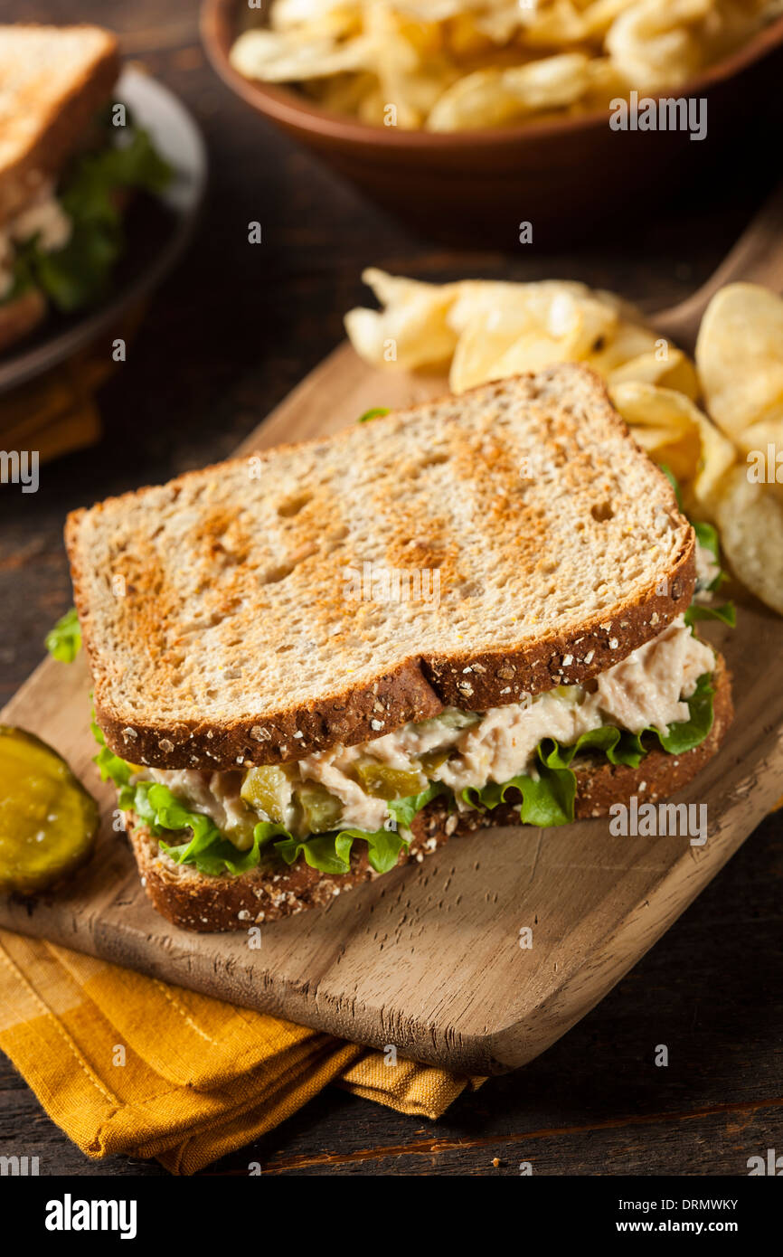 Healthy Tuna Sandwich with Lettuce and a Side of Chips - Stock Image