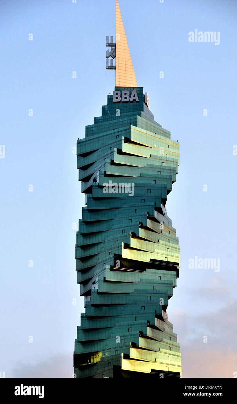 F & F tower named The Revolution Tower an unforgettable icon in the heart of Panama City's banking and business district. - Stock Image