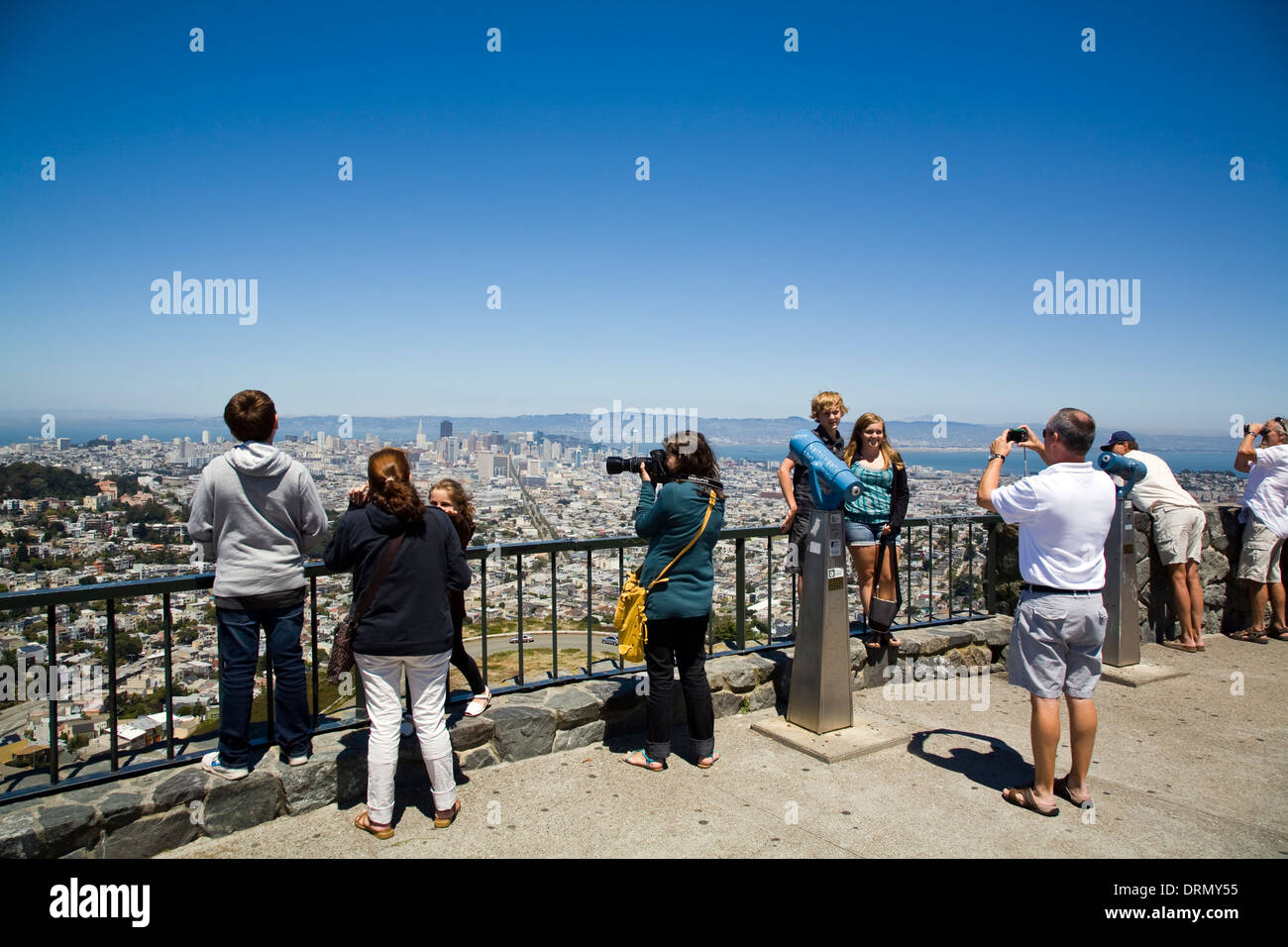 Tourists at Twin Peaks San Francisco city viewpoint, CA, California, USA - Stock Image