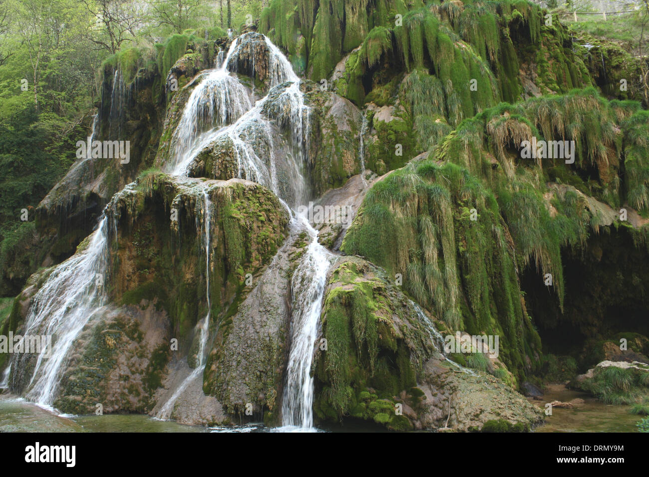 Waterfall of Baume-les-Messieurs - Stock Image