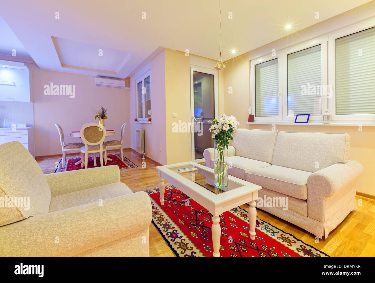 Small apartment interior, new and clean, modern design. - Stock Image