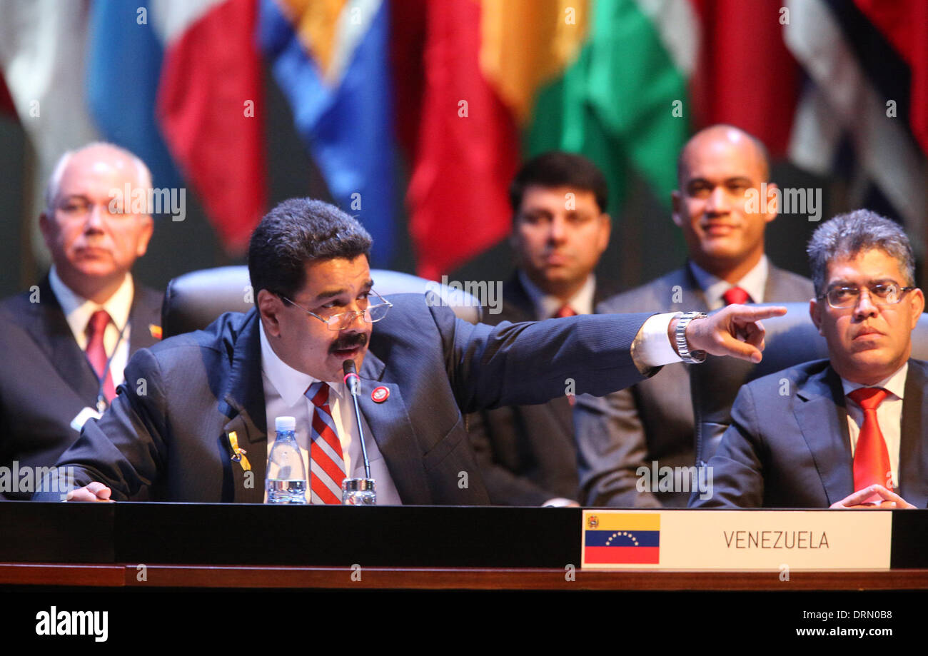 Havana, Cuba. 29th Jan, 2014. President of Venezuela Nicolas Maduro speaks during the second Summit of The Community of Latin American and Caribbean States (CELAC), in Havana, Cuba, on Jan. 29, 2014. The CELAC has declared the region a nuclear-free zone, Cuban leader Raul Castro announced Wednesday on the final day of the summit in Havana. Credit:  AVN/Xinhua/Alamy Live News - Stock Image