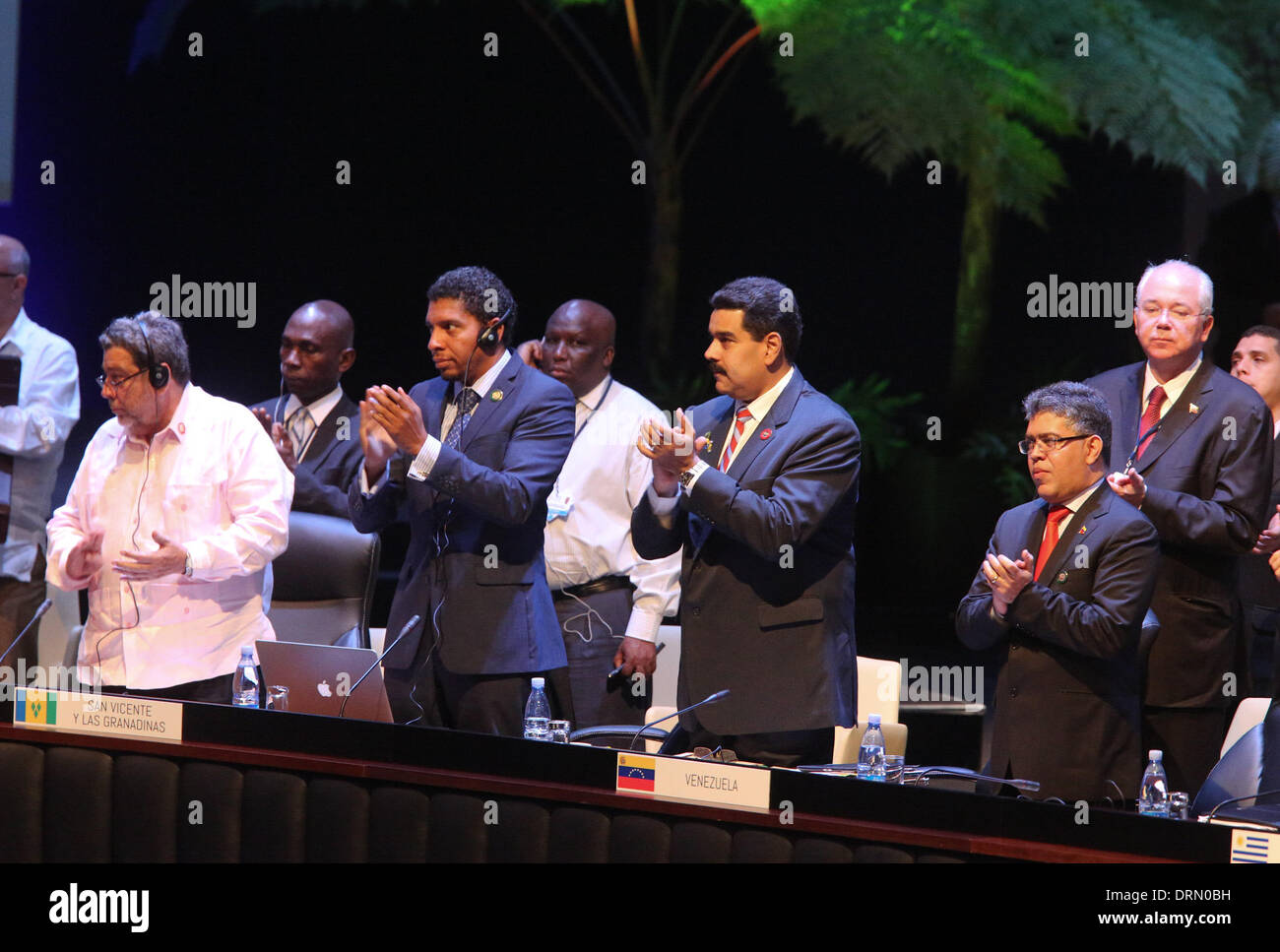 Havana, Cuba. 29th Jan, 2014. President of Venezuela, Nicolas Maduro (2nd R, front) attends the second Summit of The Community of Latin American and Caribbean States (CELAC), in Havana, Cuba, on Jan. 29, 2014. The CELAC has declared the region a nuclear-free zone, Cuban leader Raul Castro announced Wednesday on the final day of the summit in Havana. Credit:  AVN/Xinhua/Alamy Live News - Stock Image