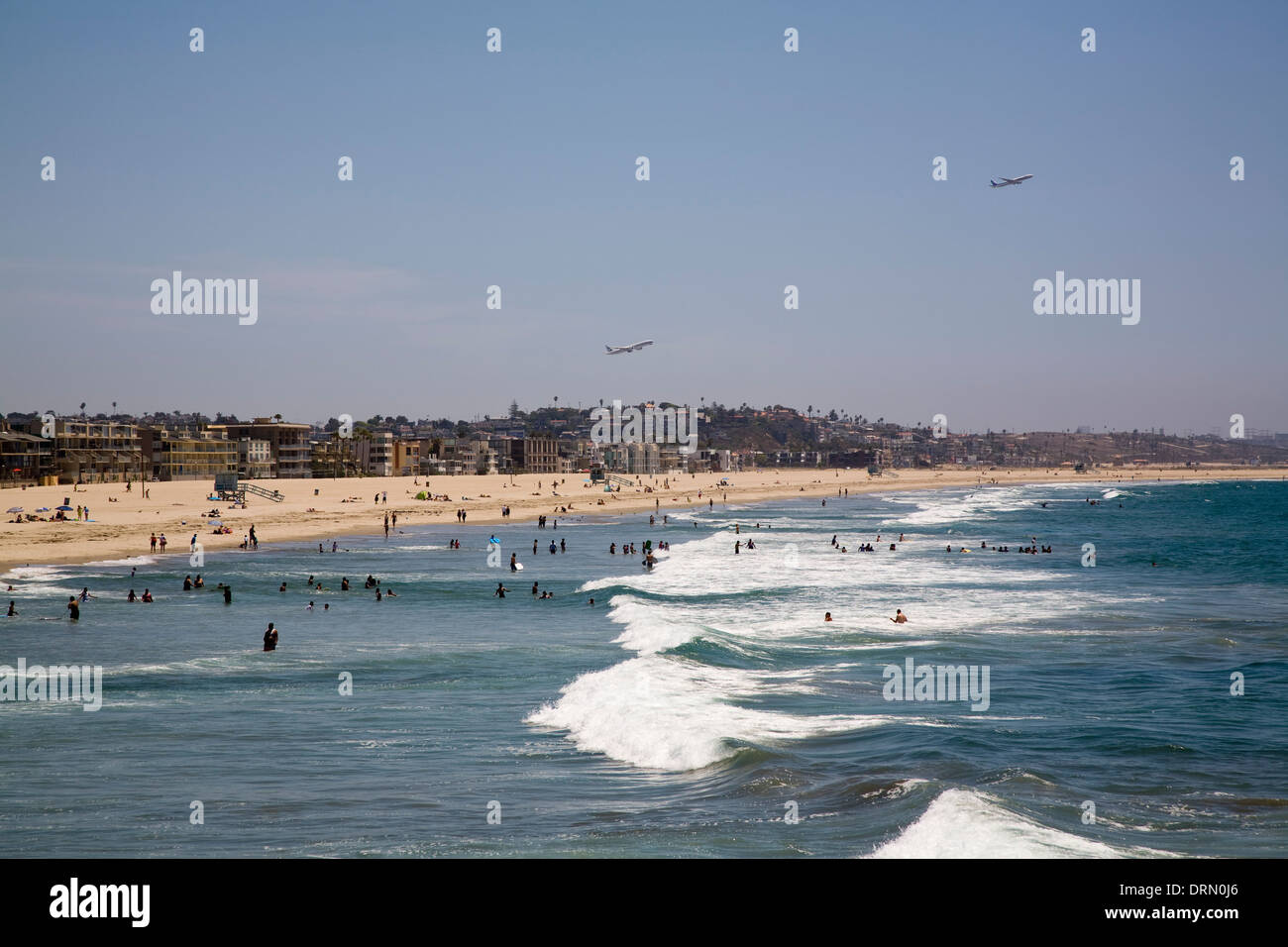 Venice Beach with LAX in background, Los Angeles, CA, California - Stock Image