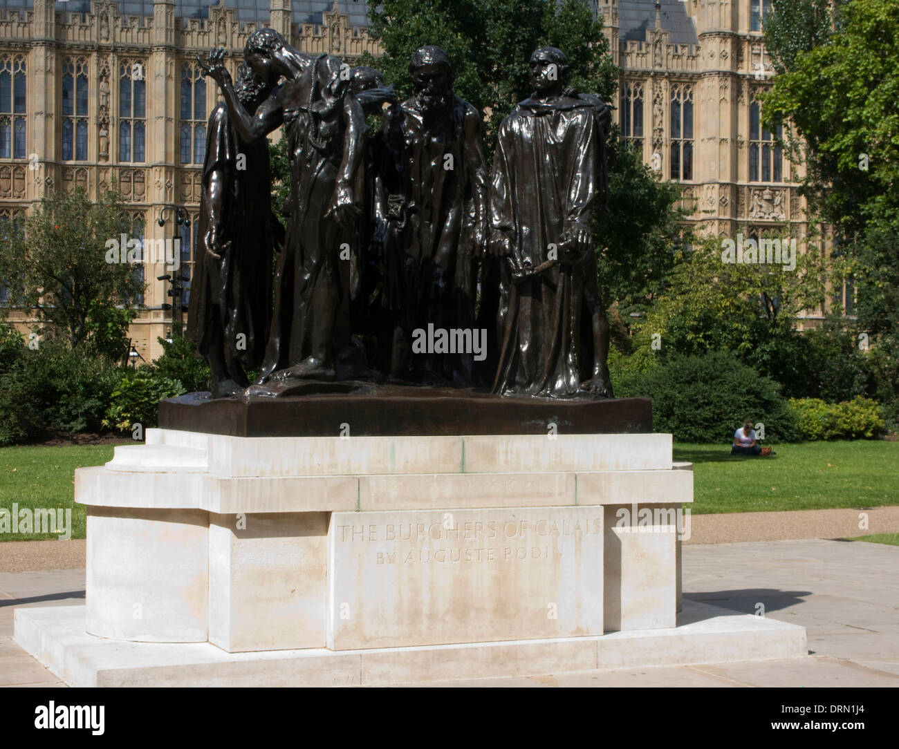 Burghers of Calais by August Rodin Statue Houses of Parliament London UK - Stock Image