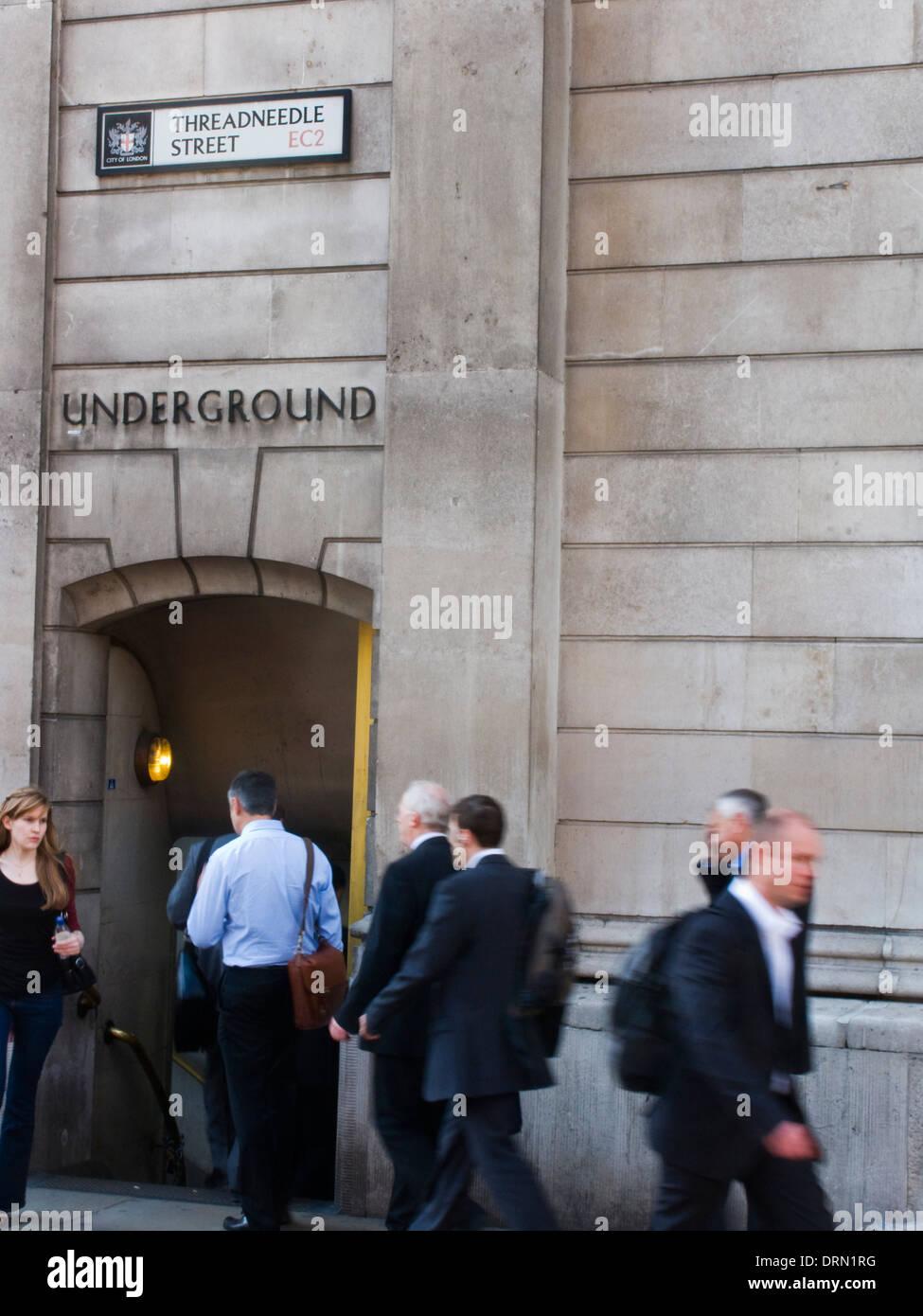 Threadneedle Street London Underground Tube Station Entrance - Stock Image